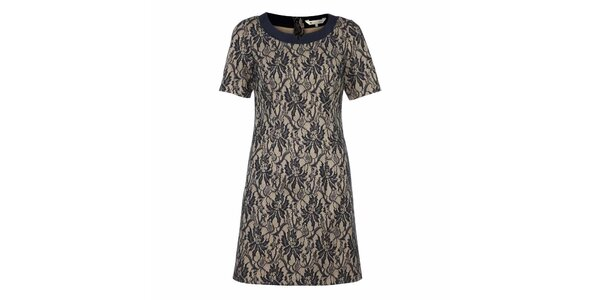Dámske čipkované šaty s béžovým podkladom Yumi