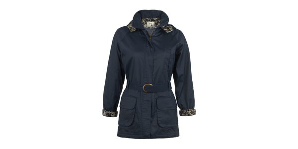 Dámsky tmavo modrý kabát s opaskom Yumi
