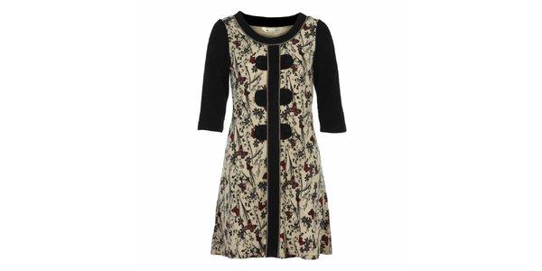 Dámske krémové šaty s motýlikmi a tmavými rukávmi Yumi