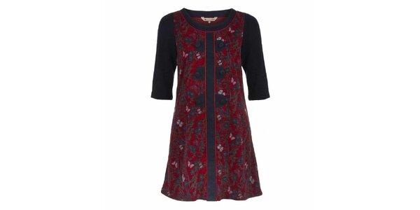 Dámske červené šaty s motýlikmi a tmavými rukávmi Yumi
