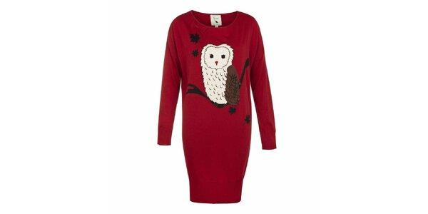 Dámske červené úpletové šaty so sovou Yumi