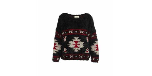 Dámsky čierny sveter s indiánskymi vzormi Yumi
