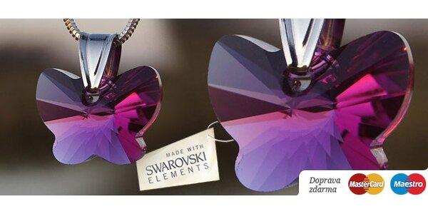 Prívesok v tvare motýlika z brúseného krištáľu Swarovski s retiazkou