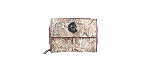 Dámska tmavo hnedá peňaženka s motívom hadej kože a logom Cavalli B.
