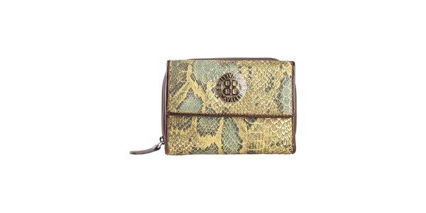 Dámska zelená peňaženka s motívom hadej kože a logom Cavalli B.