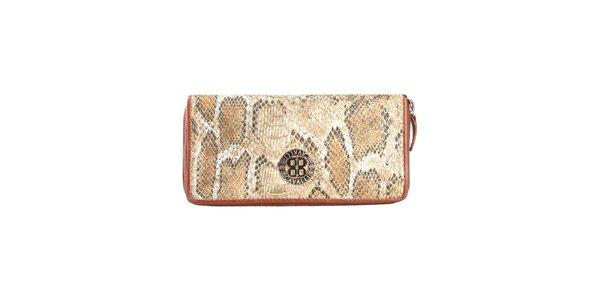 Dámska svetlo hnedá peňaženka s hadím vzorom Cavalli B.