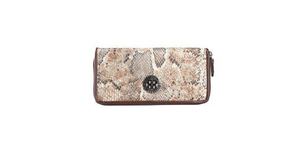 Dámska hnedobéžová peňaženka s hadím vzorom Cavalli B.