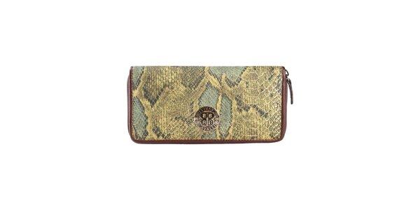 Dámska zelenohnedá peňaženka s hadím vzorom Cavalli B.