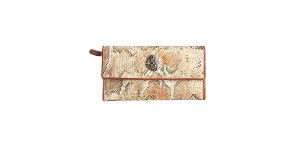 Dámska svetlo hnedá peňaženka na patentku Cavalli B. s hadím vzorom