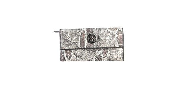 Dámska čierna peňaženka na patentku Cavalli B. s hadím vzorom