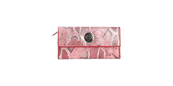 Dámska červená peňaženka na patentku Cavalli B. s hadím vzorom