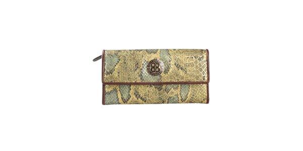 Dámska zelenohnedá peňaženka na patentku Cavalli B. s hadím vzorom