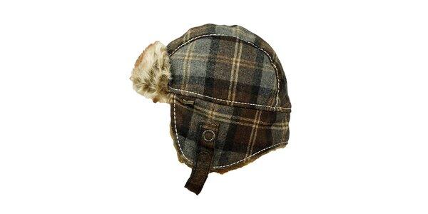 Károvaná čiapka s umelým kožúškom GAS