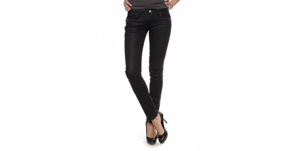 Dámske čierne džínsy Zu Elements s lesklým povrchom