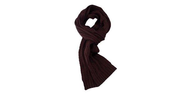 Hnedý pletený šál Fraas