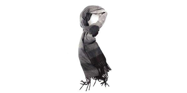 Čierno-šedý pruhovaný šál Fraas
