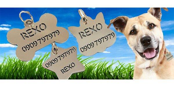 Gravírované štítky z ocele pre psíkov