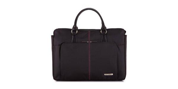 Dámska čierna taška na notebook Wittchen s ružovými detailmi