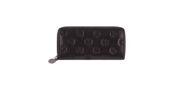 Dámska podlhovastá čierna peňaženka s razenými motívmi Wittchen