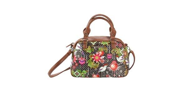 Dámska hnedá kabelka s farebným vzorom Catalina Estrada