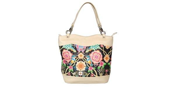 Dámska krémová kabelka s kvetinovým vzorom Catalina Estrada
