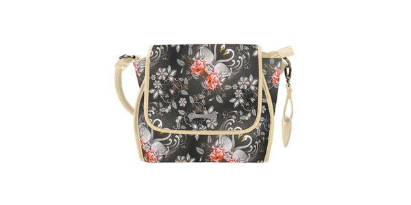 Dámska čierna kabelka s krémovými prvkami Catalina Estrada
