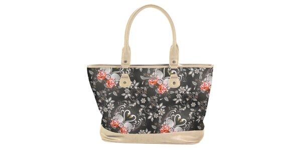 Dámska krémovočierna kabelka s kvetinami Catalina Estrada