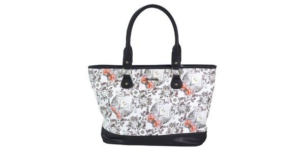 Dámska čiernobiela kabelka s kvetinami Catalina Estrada