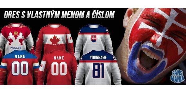 Hokejový dres s vlastným menom a číslom (v ponuke Sochi replica)
