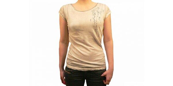 Dámske béžové batikované tričko Diesel