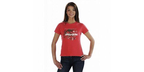 Dámske červené tričko Roadsign Australia s potlačou