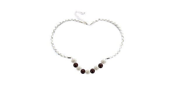 Dámsky náhrdelník s hnedočiernymi perlami Swarowski Royal Adamas