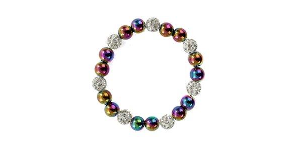 Dámsky náramok s duhovými perlami Swarowski a striebornými kamienkami Royal…