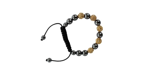 Dámsky šedozlatý shamballa náramok s perlami Swarowski Royal Adamas