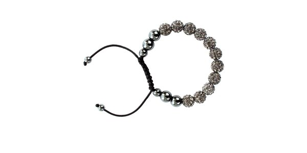 Dámsky šedý shamballa náramok s perlami Swarowski Royal Adamas