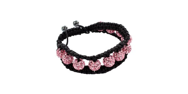 Dámsky ružový shamballa náramok s perlami Swarowski Royal Adamas