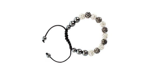 Dámsky šedostrieborný shamballa náramok s perlami Swarowski Royal Adamas