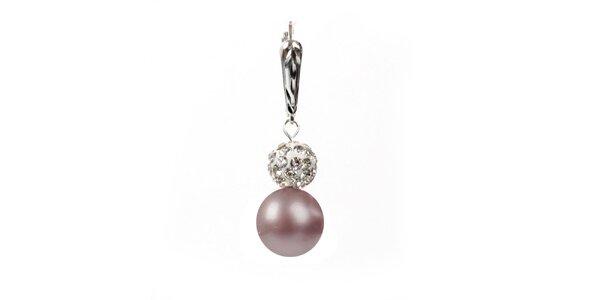 Dámske náušnice s ružovou perlou Swarowski a strieborným zapínaním Royal Adamas