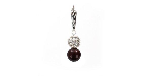 Dámske náušnice s hnedočiernou perlou Swarowski a strieborným zapínaním Royal…