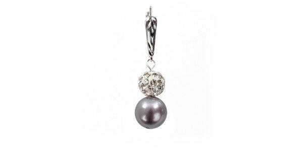 Dámske náušnice s fialovou perlou Swarowski a strieborným zapínaním Royal Adamas