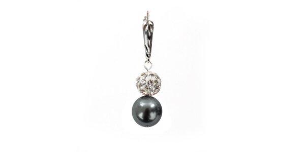 Dámske náušnice s šedostriebornou perlou Swarowski a strieborným zapínaním…