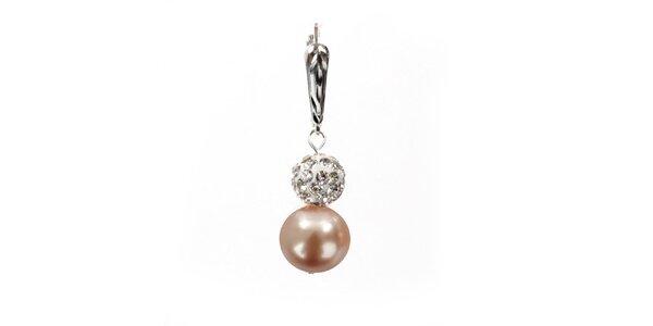 Dámske náušnice s broskyňovo ružovou perlou Swarowski a strieborným zapínaním…