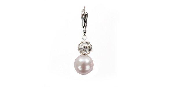 Dámske náušnice so svetlo ružovou perlou Swarowski a strieborným zapínaním…