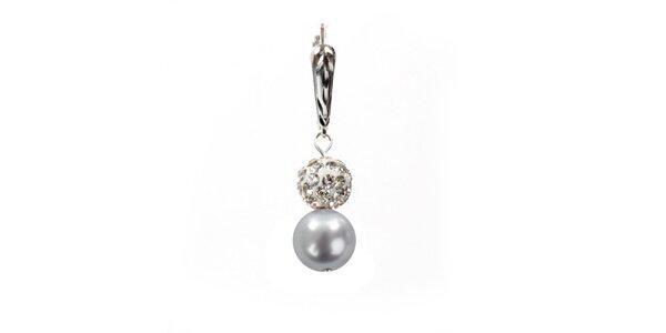Dámske náušnice s jemne fialovou perlou Swarowski a strieborným zapínaním Royal…