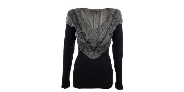 Dámske šedo-čierne tričko Angels Never Die