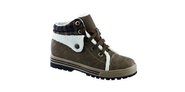 Dámske khaki členkové topánky Keddo