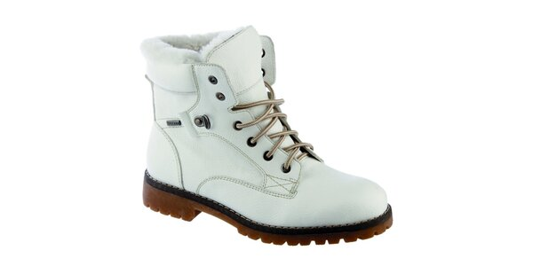 Dámske krémovo biele členkové topánky s vlnenou podšívkou Keddo