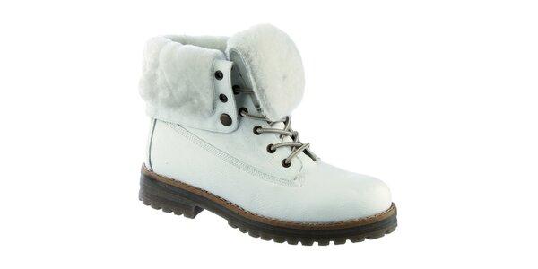 Dámske biele šnurovacie topánky s kožušinkou Keddo