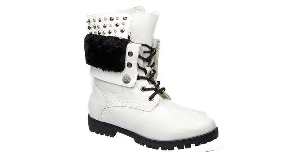 Dámske biele šnurovacie topánky s cvočkami Keddo