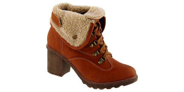 Dámske hnedooranžové šnurovacie topánky Betsy